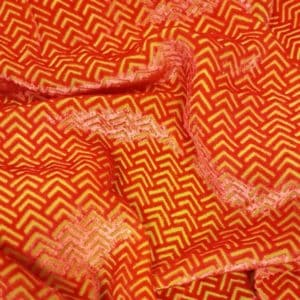 Denholme Velvets Chevron Devore Viscose Silk Velvet 20249 9447P ORANGE YELLOW