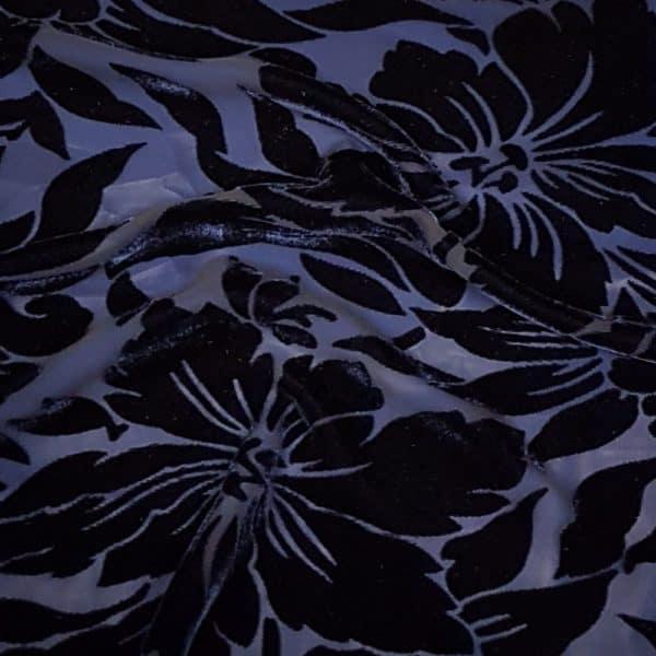 Denholme Velvets Large Flower Devore Viscose Silk Velvet 20174 9083P CASPIAN