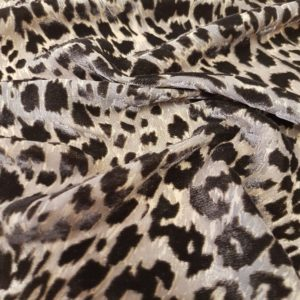 Denholme Velvets Leopard Devore Viscose Silk Velvet 20159 9007P GREY